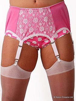 Pink & White 6 Strap Suspender Belt