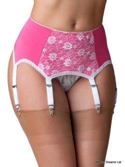 Pink and White 6 Strap Suspender Belt